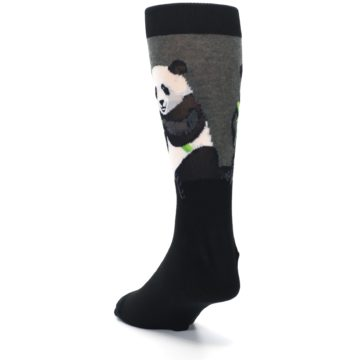 Image of Black Grey Panda Animal Men's Dress Socks (side-2-back-16)