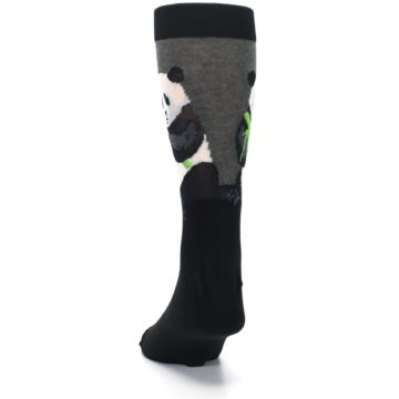 Image of Black Grey Panda Animal Men's Dress Socks (back-17)
