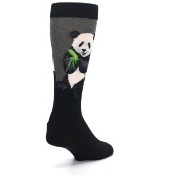 Image of Black Grey Panda Animal Men's Dress Socks (side-1-back-21)