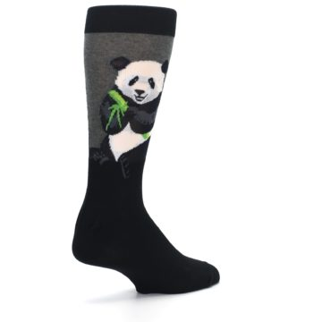 Image of Black Grey Panda Animal Men's Dress Socks (side-1-back-22)
