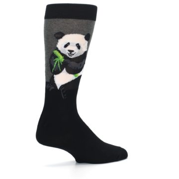 Image of Black Grey Panda Animal Men's Dress Socks (side-1-23)