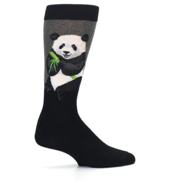 Image of Black Grey Panda Animal Men's Dress Socks (side-1-24)