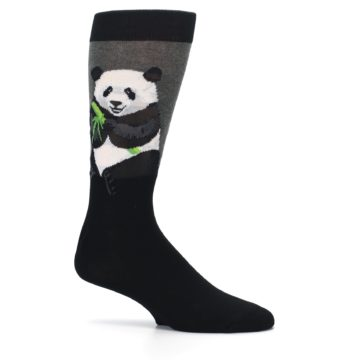 Image of Black Grey Panda Animal Men's Dress Socks (side-1-25)