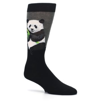 Image of Black Grey Panda Animal Men's Dress Socks (side-1-26)