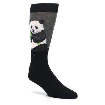 Image of Black Grey Panda Animal Men's Dress Socks (side-1-27)