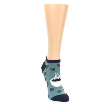 Image of Blues White Coffee Cup Women's Ankle Socks (side-1-front-03)