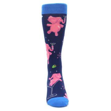 Image of Navy Pink Elephants Cocktail Men's Dress Socks (front-04)