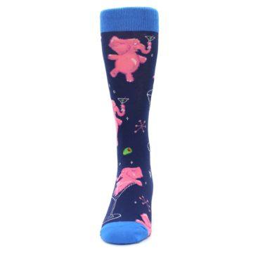 Image of Navy Pink Elephants Cocktail Men's Dress Socks (front-05)