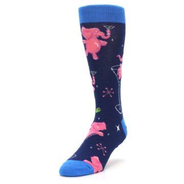 Image of Navy Pink Elephants Cocktail Men's Dress Socks (side-2-front-07)