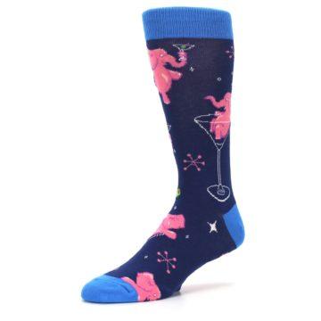 Image of Navy Pink Elephants Cocktail Men's Dress Socks (side-2-09)