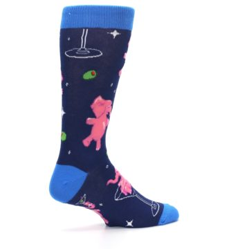 Image of Navy Pink Elephants Cocktail Men's Dress Socks (side-1-23)