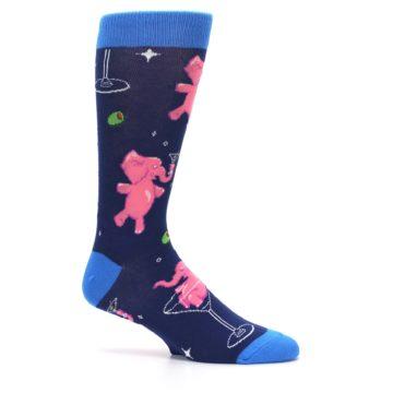 Image of Navy Pink Elephants Cocktail Men's Dress Socks (side-1-25)