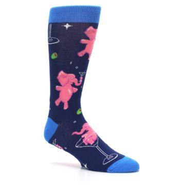 Image of Navy Pink Elephants Cocktail Men's Dress Socks (side-1-26)