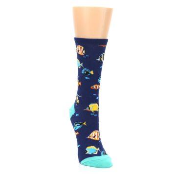 Image of Navy Multi-color Fish Women's Dress Socks (side-1-front-03)
