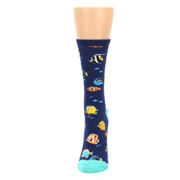 Image of Navy Multi-color Fish Women's Dress Socks (side-2-front-06)