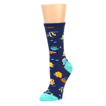 Image of Navy Multi-color Fish Women's Dress Socks (side-2-09)