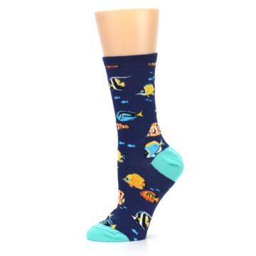 Image of Navy Multi-color Fish Women's Dress Socks (side-2-11)