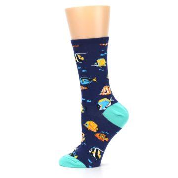 Image of Navy Multi-color Fish Women's Dress Socks (side-2-12)