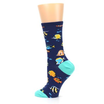 Image of Navy Multi-color Fish Women's Dress Socks (side-2-13)
