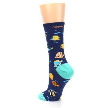 Image of Navy Multi-color Fish Women's Dress Socks (side-2-back-15)