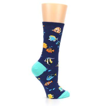 Image of Navy Multi-color Fish Women's Dress Socks (side-1-24)