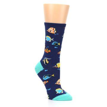 Image of Navy Multi-color Fish Women's Dress Socks (side-1-27)