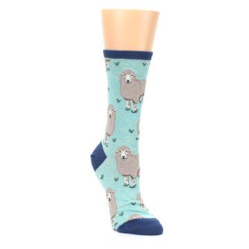 Image of Mint Heather Sheep Women's Dress Socks (side-1-front-02)