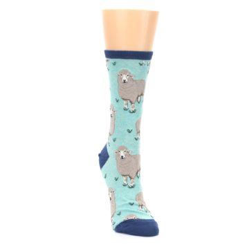 Image of Mint Heather Sheep Women's Dress Socks (side-1-front-03)