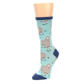 Image of Mint Heather Sheep Women's Dress Socks (side-2-09)