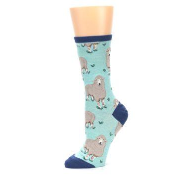 Image of Mint Heather Sheep Women's Dress Socks (side-2-10)