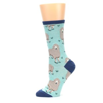 Image of Mint Heather Sheep Women's Dress Socks (side-2-11)