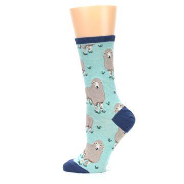 Image of Mint Heather Sheep Women's Dress Socks (side-2-12)