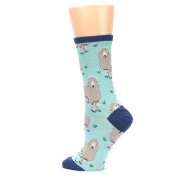 Image of Mint Heather Sheep Women's Dress Socks (side-2-13)