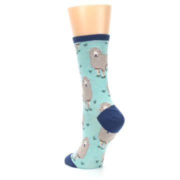 Image of Mint Heather Sheep Women's Dress Socks (side-2-back-15)