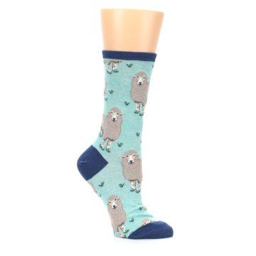 Image of Mint Heather Sheep Women's Dress Socks (side-1-26)