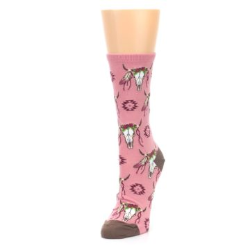 Image of Pink Longhorn Cow Skull Women's Dress Socks (side-2-front-08)