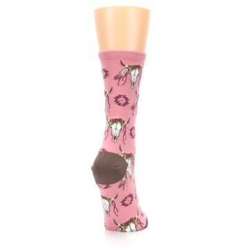 Image of Pink Longhorn Cow Skull Women's Dress Socks (side-1-back-21)