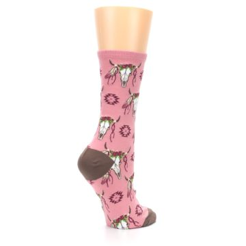 Image of Pink Longhorn Cow Skull Women's Dress Socks (side-1-23)