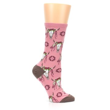 Image of Pink Longhorn Cow Skull Women's Dress Socks (side-1-25)