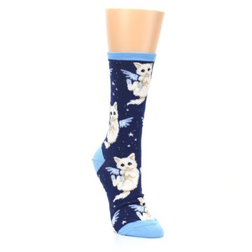 Image of Navy Purrfect Angel Cat Women's Dress Socks (side-1-front-02)
