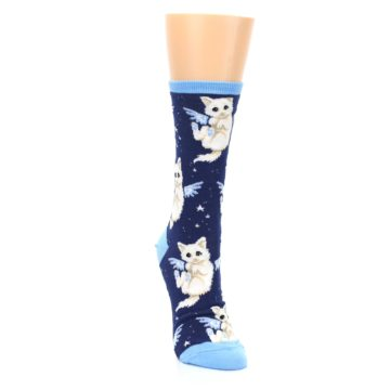 Image of Navy Purrfect Angel Cat Women's Dress Socks (side-1-front-03)