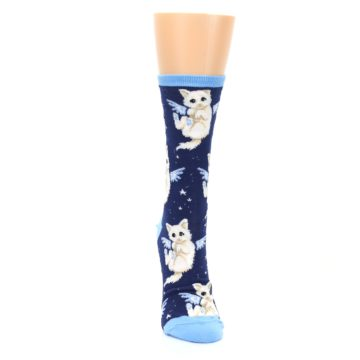 Image of Navy Purrfect Angel Cat Women's Dress Socks (front-04)