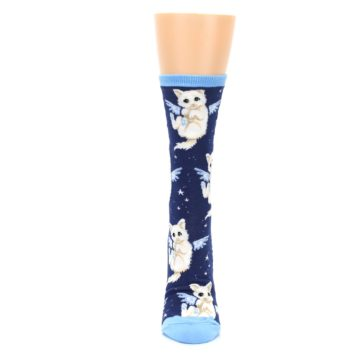 Image of Navy Purrfect Angel Cat Women's Dress Socks (front-05)