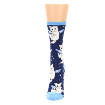 Image of Navy Purrfect Angel Cat Women's Dress Socks (side-2-front-06)