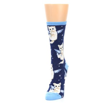 Image of Navy Purrfect Angel Cat Women's Dress Socks (side-2-front-07)