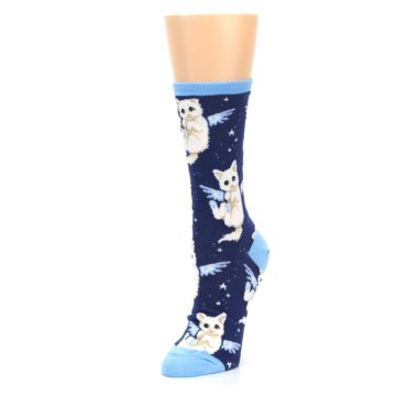 Image of Navy Purrfect Angel Cat Women's Dress Socks (side-2-front-08)