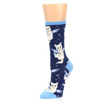 Image of Navy Purrfect Angel Cat Women's Dress Socks (side-2-09)
