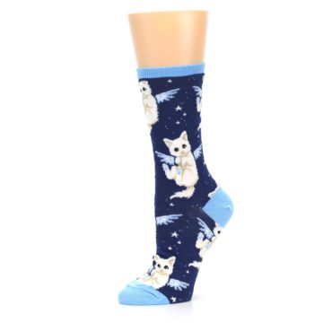 Image of Navy Purrfect Angel Cat Women's Dress Socks (side-2-10)