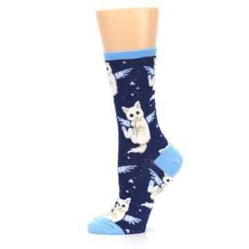 Image of Navy Purrfect Angel Cat Women's Dress Socks (side-2-11)