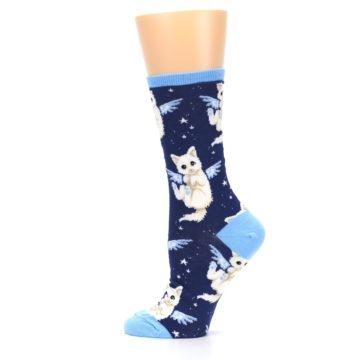 Image of Navy Purrfect Angel Cat Women's Dress Socks (side-2-12)